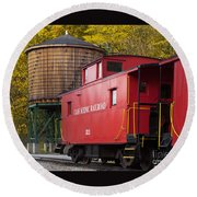 Cass Railroad Caboose Round Beach Towel