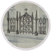 Cast Iron Gate And Fence Round Beach Towel