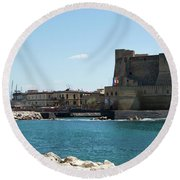 Castel Dell'ovo, Naples, Italy Round Beach Towel