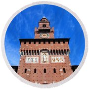 Castello Sforzesco Tower Round Beach Towel