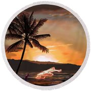 Casting Net At Sunset Round Beach Towel