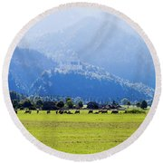 Castle And Cattle Round Beach Towel