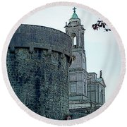 Castle And Church Athlone Ireland Round Beach Towel