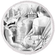 Castle And Memores Round Beach Towel