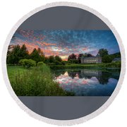Castle And Pond Round Beach Towel