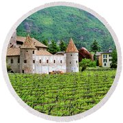 Castle And Vineyard In Italy Round Beach Towel