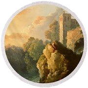 Castle And Waterfall Round Beach Towel