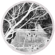 Castle At Night Round Beach Towel