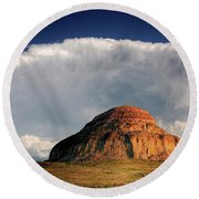 Castle Butte In Big Muddy Valley Of Saskatchewan Round Beach Towel