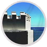 Castle By The Sea Round Beach Towel
