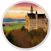 Castle Dawn Round Beach Towel