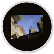 Castle From Afar Round Beach Towel