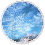 Castle Geyser Yellowstone Np Photo Painting_grk7577_05262018 Round Beach Towel