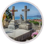 Castle Hill Graves Overlooking Nice, France Round Beach Towel