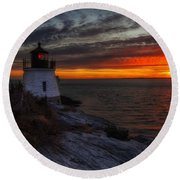Castle Hill Lighthouse Sunset Round Beach Towel
