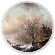 Castle In A Winter Landscape And Skaters On A Fozen River Round Beach Towel