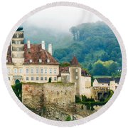 Castle In The Mist Round Beach Towel