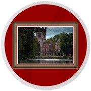 Castle Kapadia. L B With Decorative Ornate Printed Frame. Round Beach Towel
