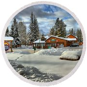 Castle Mountain Chalets Panorama Round Beach Towel