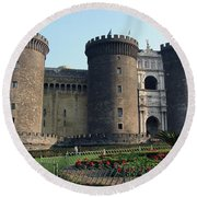 Castle Nuovo Naples Italy Round Beach Towel