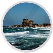 Castle Of Herod The Great Round Beach Towel
