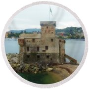 Castle Of Rapallo Round Beach Towel