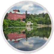 Castle On The Lake Round Beach Towel