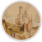Castle On The Rhine Round Beach Towel