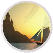 Castle On The Sea Round Beach Towel