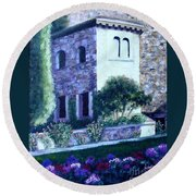 Castle Sestri Levante Round Beach Towel