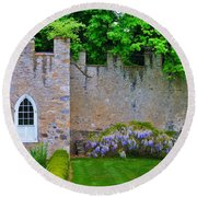 Castle Wall At The Highlands Round Beach Towel