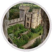 Castle Within A Frame Round Beach Towel