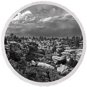 Castlewood Canyon And Storm - Black And White Round Beach Towel