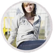 Casual Country Girl Round Beach Towel by Jorgo Photography - Wall Art Gallery