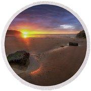 Caswell Bay Sunrise Round Beach Towel