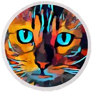 Cat 10 Round Beach Towel