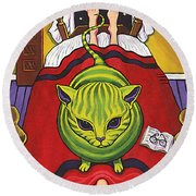 Cat - Alien Abduction Round Beach Towel