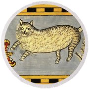 Cat And Butterfly Round Beach Towel