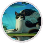 Cat And Mouse 2 Round Beach Towel
