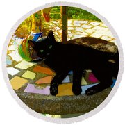 Cat And Table Round Beach Towel