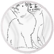 Cat-art-curious Round Beach Towel
