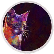 Cat Background Image Cute Red  Round Beach Towel