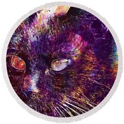 Cat Black View Close  Round Beach Towel