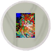 Cat By Fauvism Round Beach Towel