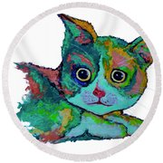 Cat For Love Round Beach Towel