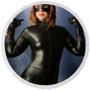 Cat Claws And Mask Round Beach Towel