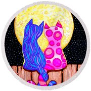 Cat Couple Full Moon Round Beach Towel