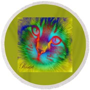 Cat Fluorescent Round Beach Towel