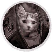 Cat In A Bag Round Beach Towel
