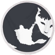 Cat In Black And White Round Beach Towel